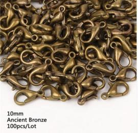 100 stuks karabijn sluitingen antiek bronskleurig 10mm