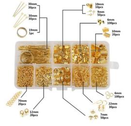 Sieraad onderdelen goudkleurig in opbergdoosje - sieradenset