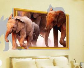 Muursticker 3d olifant