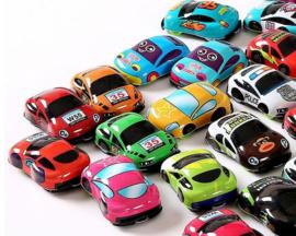 10 mini pull auto's in verschillende kleuren
