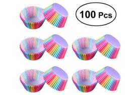 100 stuks cupcake omslagen regenboog