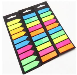 3 setjes fluoserende memo blaadjes = 600 stuks blaadje - boekmarkers - stickey notes