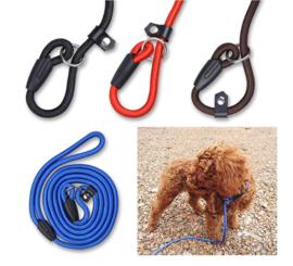 3 stuks hondenriemen - tranings lijn 130 cm voor kleine rassen blauw - zwart - rood