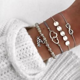 4 stuks armbandjes zilerkleur - grijs