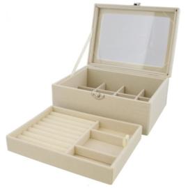Luxe sieradenbox beige 20x15x8,5 cm