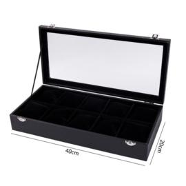 Display koffer voor armbanden / horloges 10 vakken met deksel zwart