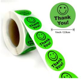 500 stuks stickers op rol Smiley Thank You groen 2,5 cm