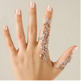 Ring wijsvinger-duim met strass