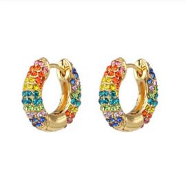 Regenboog oorbellen met strass - goudkleur