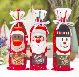 3 stuks flesverpakking hert - sneeuwpop - kerstman