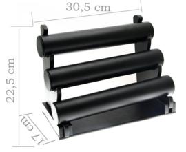Armbanden display zwart lederlook 3 rollen