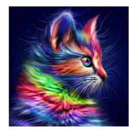 Diamond Painting kleurrijke kat 25x25 cm (zonder frame)