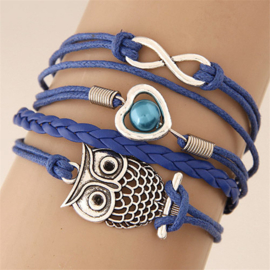 Fashion armband uil blauw