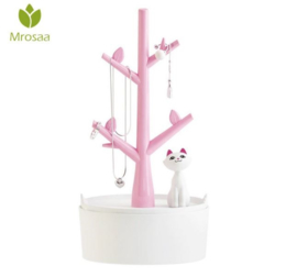Sieraden display met opbergvakje roze - wit met katje