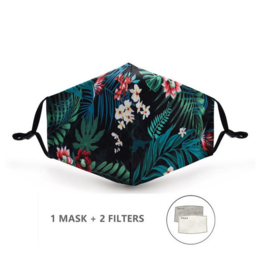 Herbruikbare / wasbare mondmasker katoen met print + 2 filters