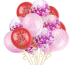 15 stuks ballonnen verjaardag meisje 2 jaar inclusief confetti ballonnen
