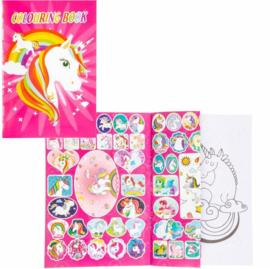 Kleurboek met stickers unicorn - eenhoorn 20x14 cm