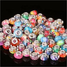 20 stuks glaskralen multicolor 8x13 cm
