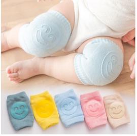Baby kniebeschermers blauw met smiley - 1 paar