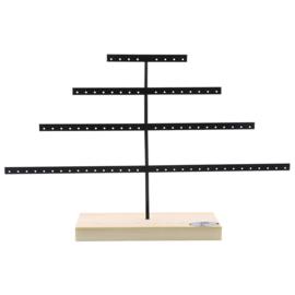 Metalen oorbellen display Pyramide met houten voet