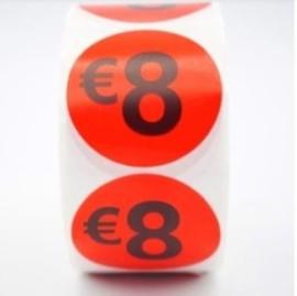 Prijsstickers op rol 500 stuks 8 euro - 2cm