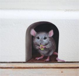 3 stuks muurstickers muis 6x6 cm