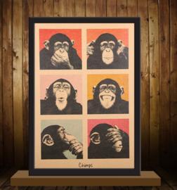 Vintage poster chimpasee - aapjes
