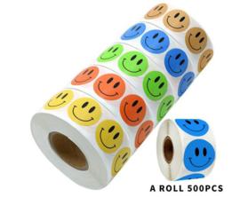4 rollen stickers = 2000 stickertjes smiley geel - blauw - oranje - groen