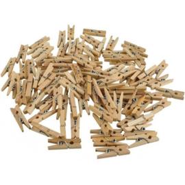 100 stuks houten knijpers naturel 2,5cm