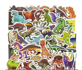 50 stuks dinosaurus stickers 3x7 cm