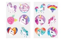 8 velletjes unicorn tattoo = 48 tattoo plaatjes