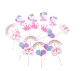 24 stuks cupcake toppers assorti Unicorn