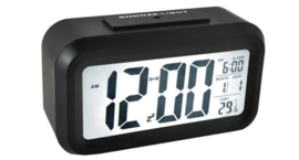 Wekker met LED verlichting - alarm functie - datum aanduiding - temperatuur aanduiding