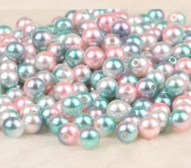 50 stuks parelmoer kralen roze/blauw/wit 50 stuks 10 mm