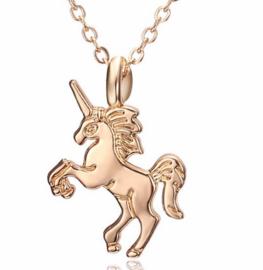 Ketting + hanger unicorn / eenhoorn goudkleurig