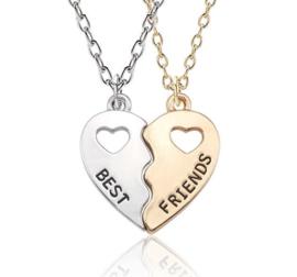 2-delige vriendschapsketting Best Friends hart Goud/zilverkleur