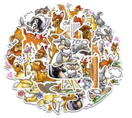 35 stuks stickers Bambi 3 tot 6 cm