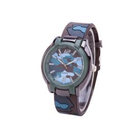 Camouflage Horloge - Silicone Band - Blauw