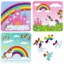 3 verschillende kartonnen puzzels unicorn - eenhoorn 13,5x13cm