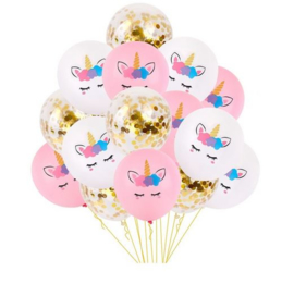 15 stuks Unicorn ballonnen wit - roze - confetti