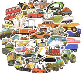 50 stuks stickers vervoer - voertuigen 3-8 cm