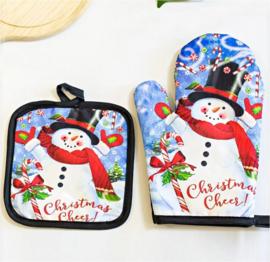 Set ovenwant + pannenlap kerst - sneeuwpop