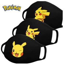 Set van 3 verschillende kinder Pokemon mondmaskers - wasbaar herbruikbaar