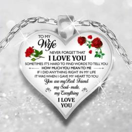 Ketting met hanger hart To my Wife / voor mijn vrouw