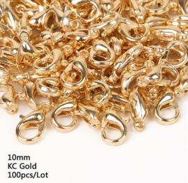 100 stuks karabijnsluitingen goudkleurig 10mm