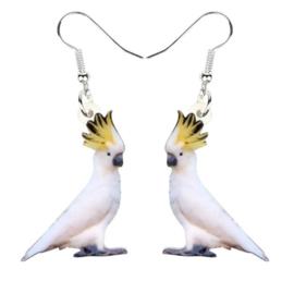 Oorbellen acryl Kaketoe papegaai
