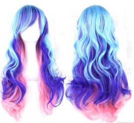 Pruik 70 cm lichtblauw - donkerblauw - roze