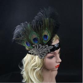 Haarband pauwenveren met kraaltjes