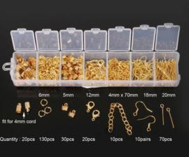 Onderdelen sieradenset - 300 stuks onderdelen goudkleur