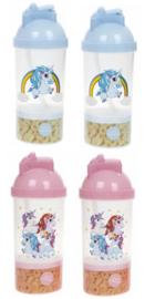 2 stuks Unicorn - eenhoorn drinkbeker met snackvakje blauw en roze